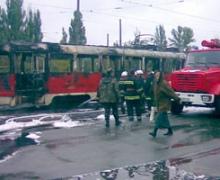 В Киеве на ходу поджарился трамвай