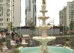 Жителям Позняков вместо свалки сделали сквер с ретро-фонтаном