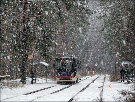 В Киеве из-за снегопада отменили трамвай в Пуща-Водицу