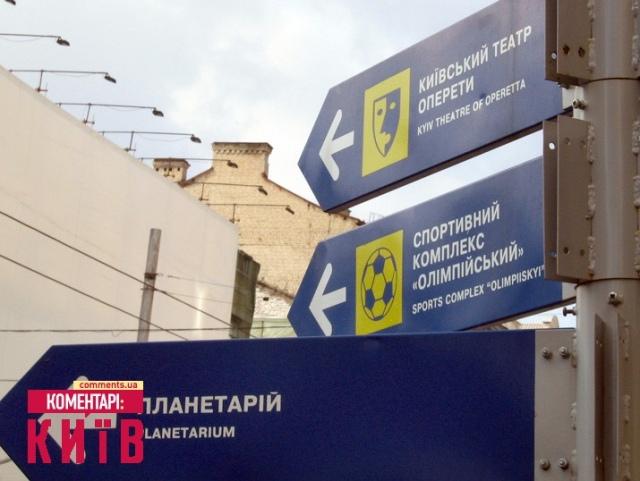 В центре Киева туристический указатель обманывает горожан