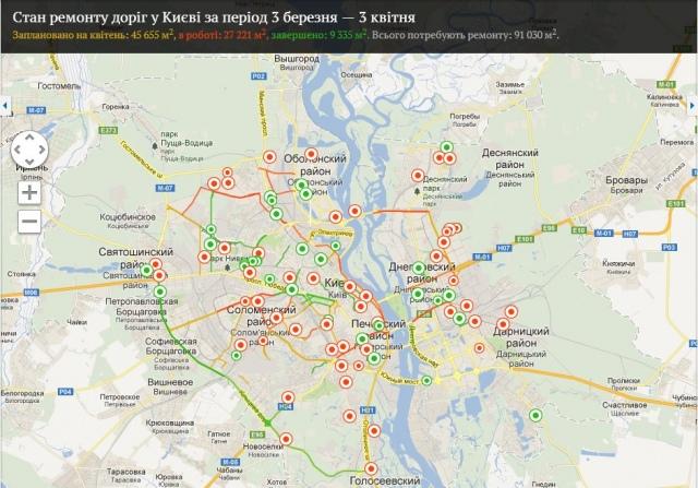 Контролировать ремонт киевских дорог можно по интернету