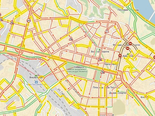 Киев начинает останавливаться в пробке