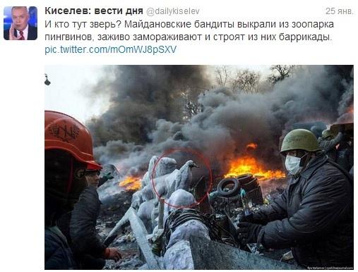 Российский журналист считает, что на Евромайдане из пингвинов строили баррикады