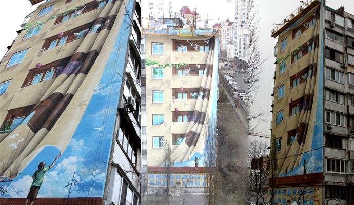 В киеве нарисовали самое большое 3d-панно в украине.