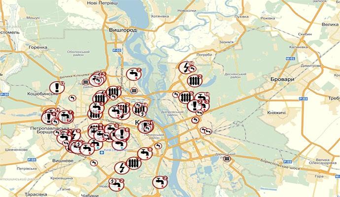 В КГГА презентовали карту восстановления коммунальных услуг