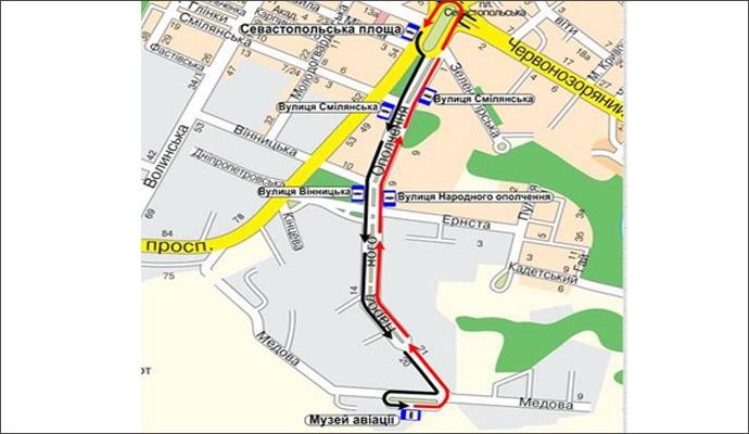 Схема временного маршрута