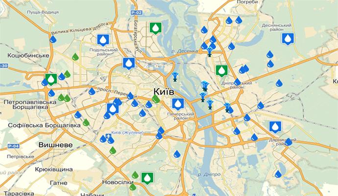 В Интернет выложили карту Киева с питьевой водой