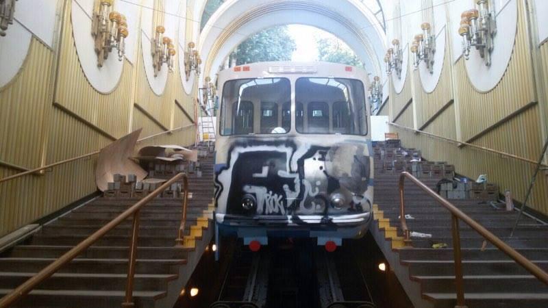Киевский фуникулер повредили вандалы