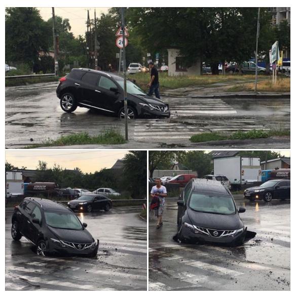 """В Киеве водитель """"припарковал"""" свое авто в яму на переходе"""