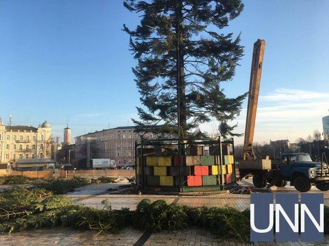 Киевская елка сильно пострадала при транспортировке