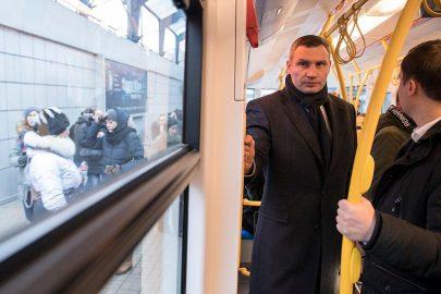 Кличко проверил работу новой партии трамваев PESA, приобретенные в конце 2017 года