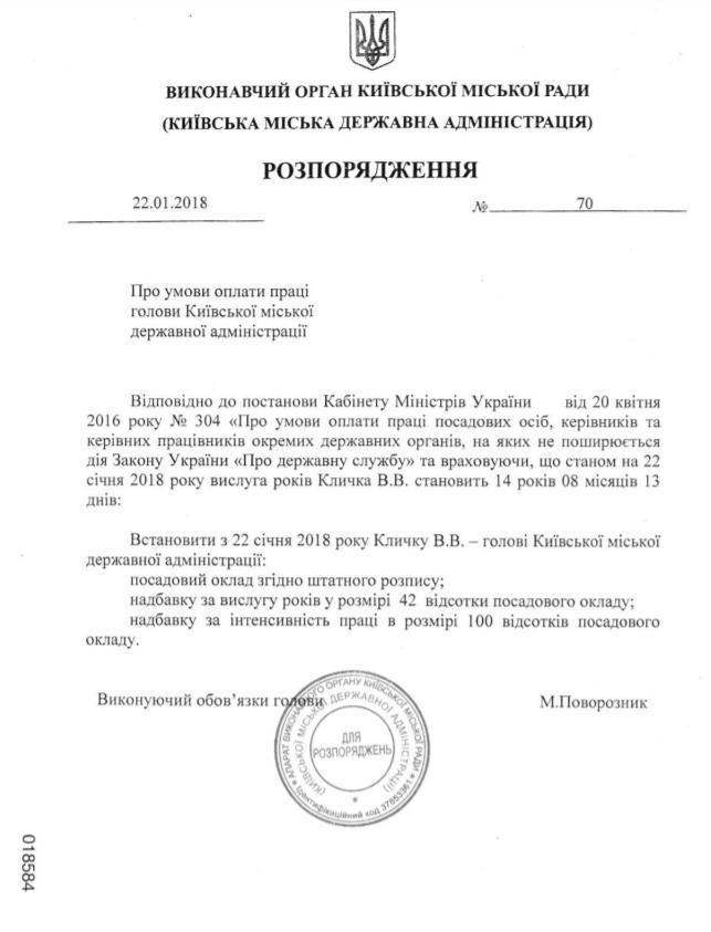 Мэру Киева увеличили размер зарплаты