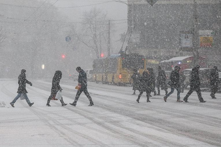 Киевских водителей просят не мешать снегу падать