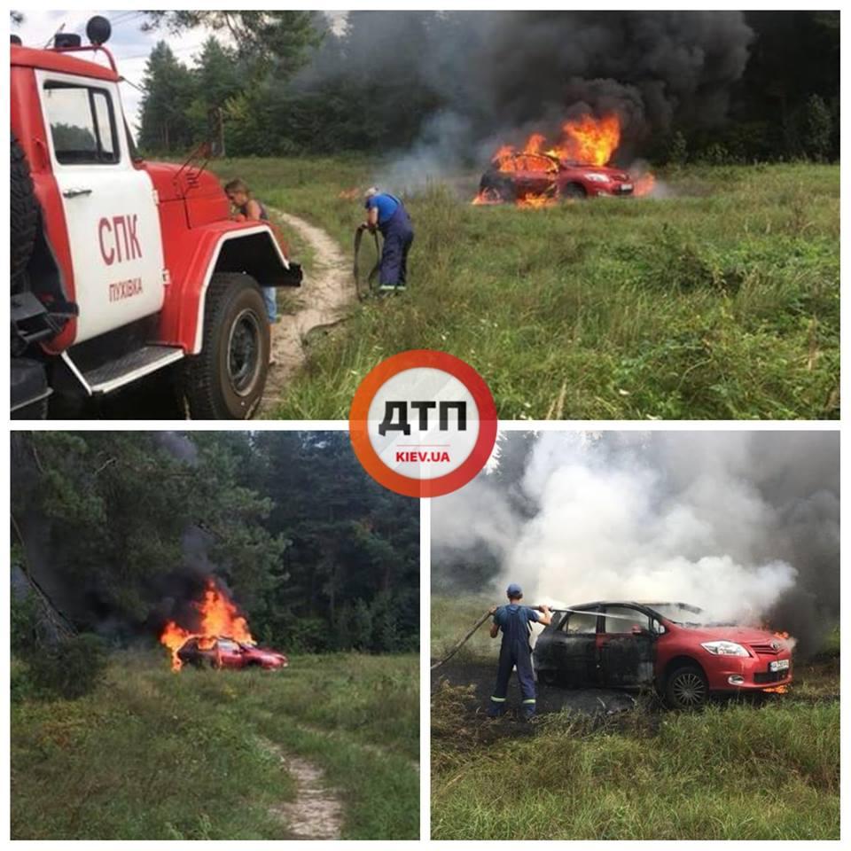 Под Киевом девушка сожгла на костре свой автомобиль