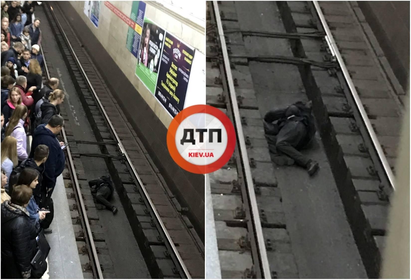 В Киевском метро пассажир лег поспать прямо под поезд