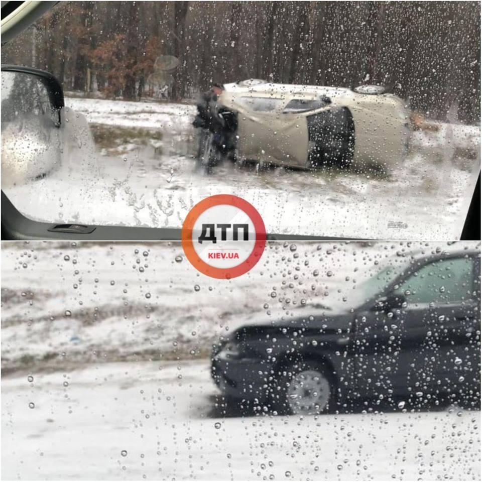 Снегопад в Киеве привел к более 50-ти ДТП утром 14 ноября