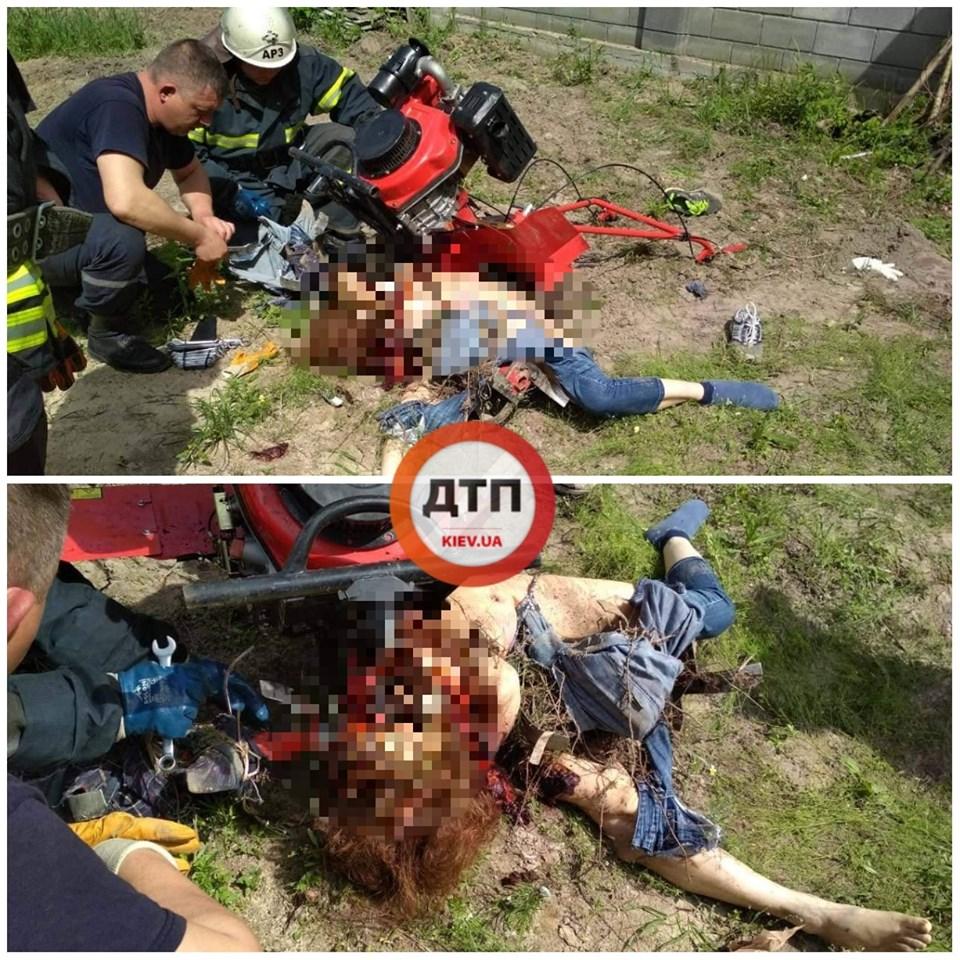 Ужасное ЧП под Киевом: женщину раздавил мотоблок
