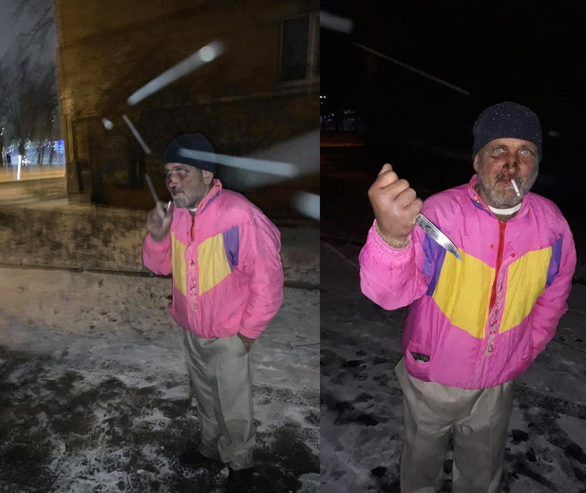 Возле КПИ на людей нападает пожилой мужчина с ножом