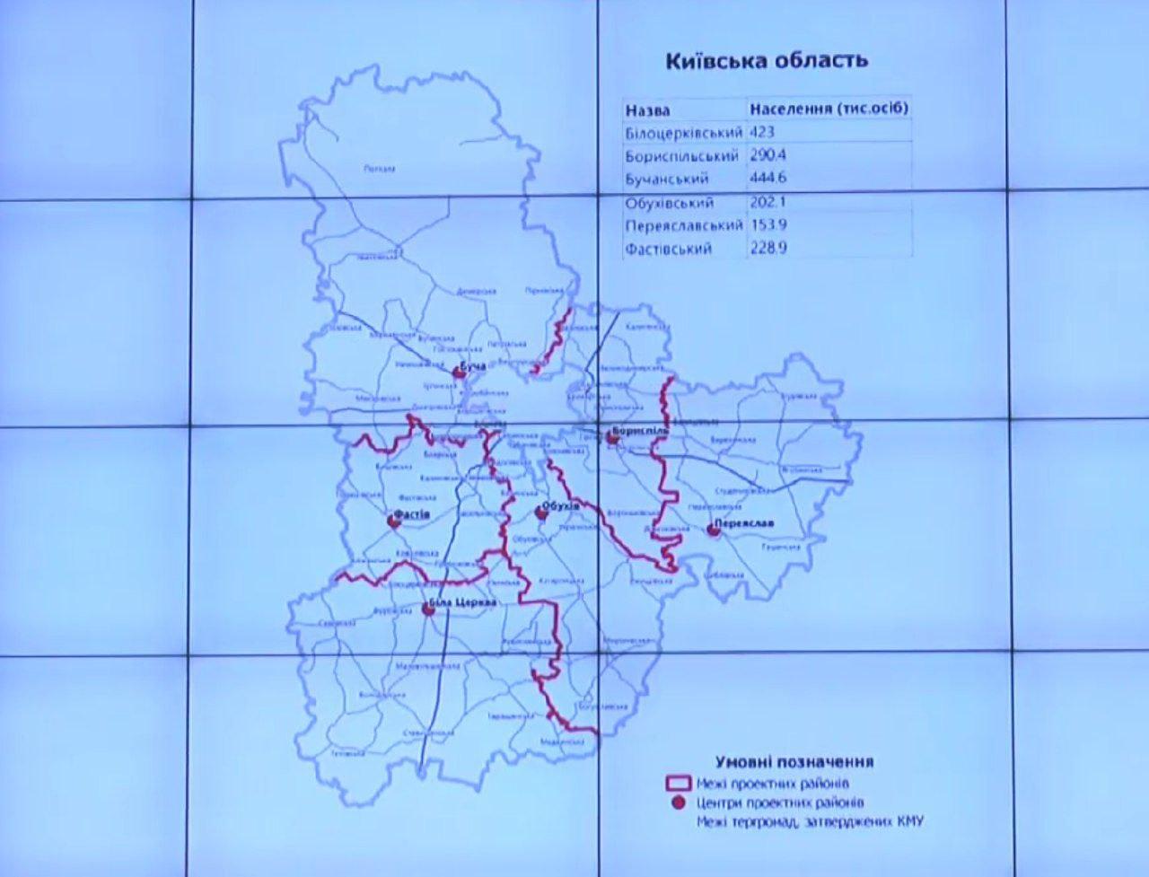 Киевскую область могут поделить на шесть районов